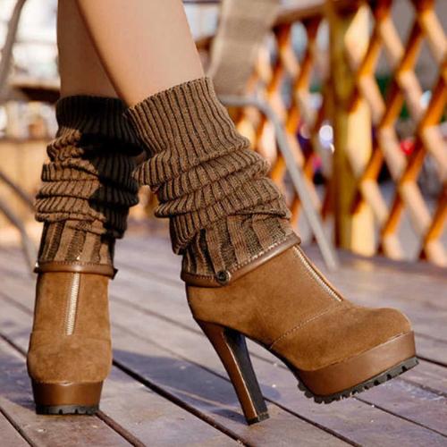 Women High Heel Zipper Sweater Knee High Boots
