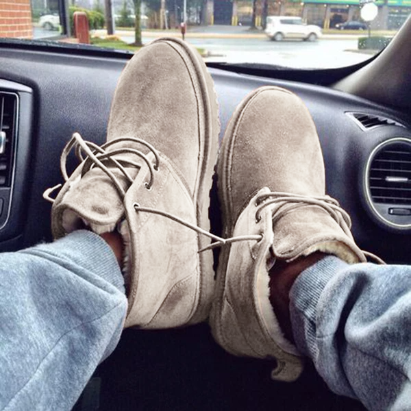Suede Lace-Up Inside Fur Boots