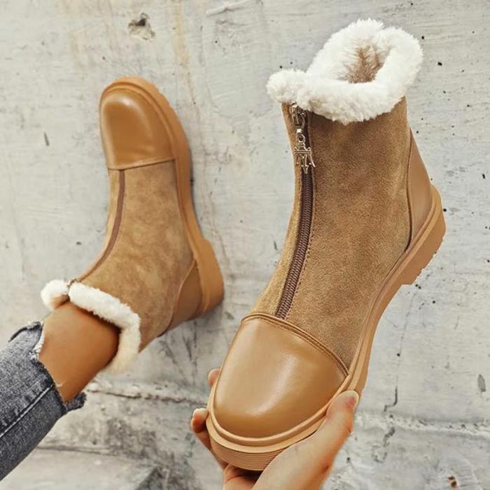 Women Panel Zipper Warm Casual Snow Boots