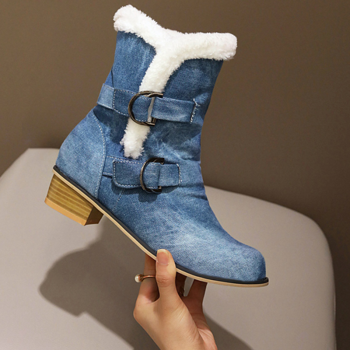 Two Buckle Strap Fur Winter Mid-Calf Boots