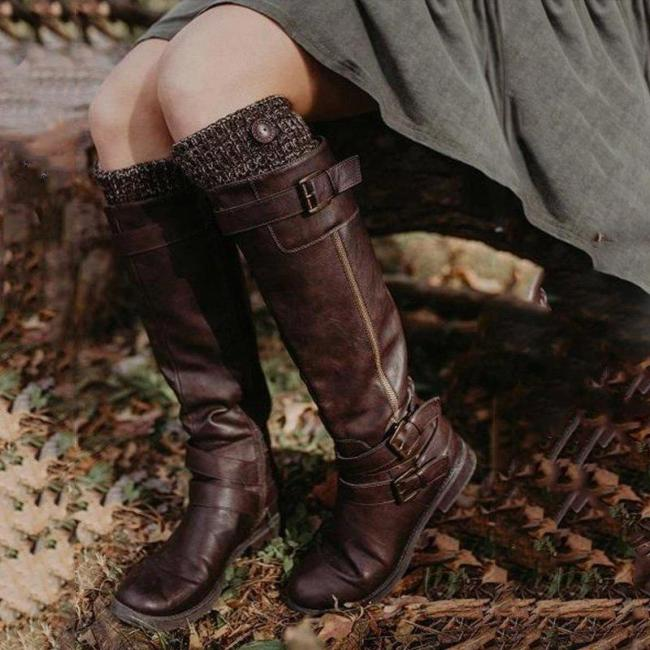 Brown Daily Women Buckle Knee High Boots