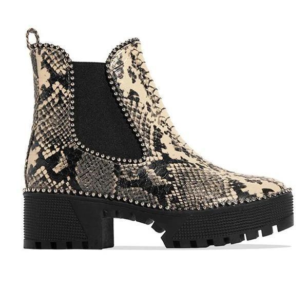 Womens Slip on Animal Print Platform Boots