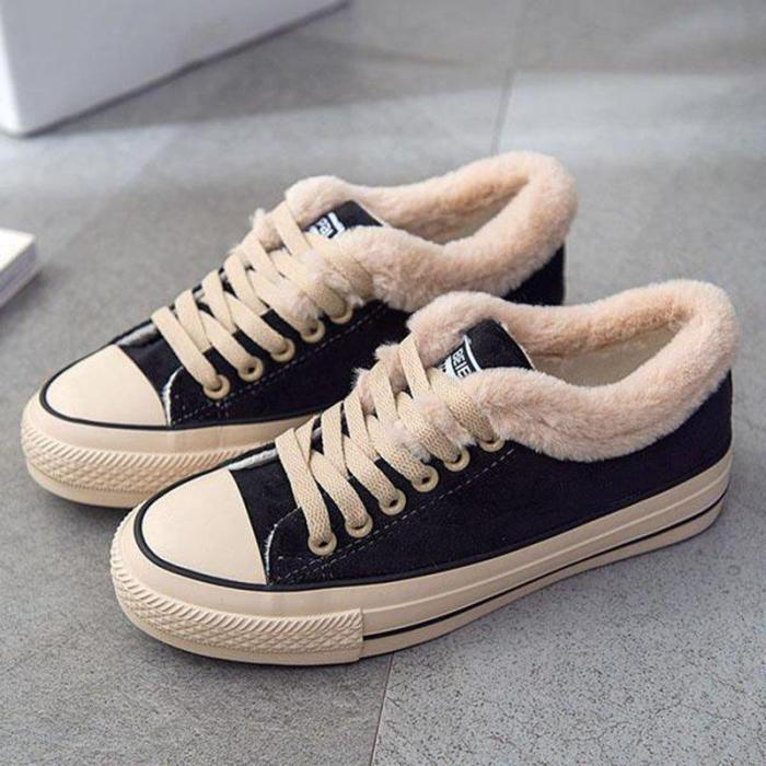 Womens Flat Canvas Snow Sneakers