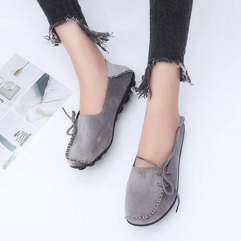 *Women Flocking Flats Round Toe Style With Bownot Plus Sizes
