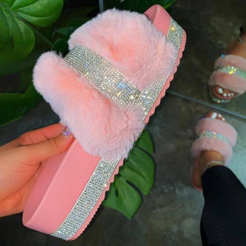 Women Faux Fur Rhinestone Casual Slip On Slippers