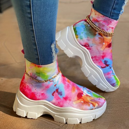 White Chunky Sole Light Slip-On Fashion Sneakers