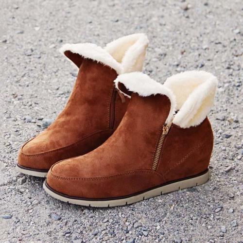 *Side Zipper Suede Fur Low Heel Cabin Boots