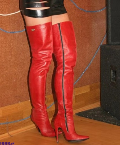 Women Red Faux Fur Thigh High Boots