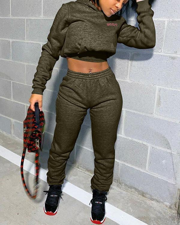 Short Hooded Sweater Letter Print Casual Two Piece Pants Set