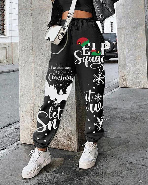 Christmas Print Plus Velvet Loose Sports Pants