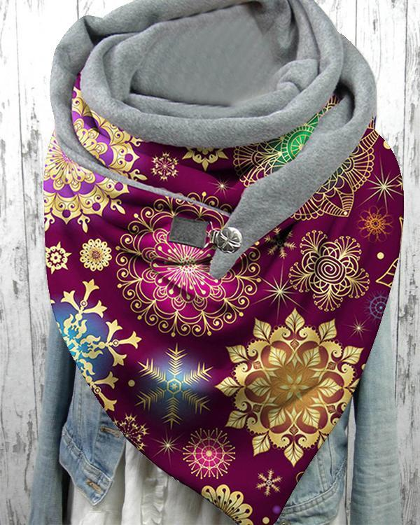 Women Ombre Snowflake Christmas Scarves with Button