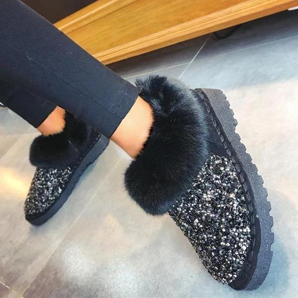 Women Winter Warm Glitter Ankle Boots