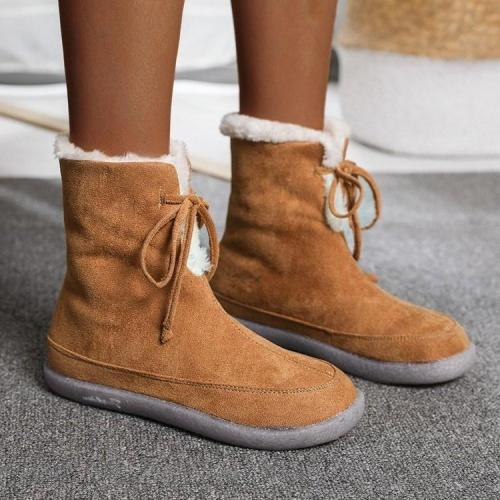 Fashion Suede Flat Snow Boots