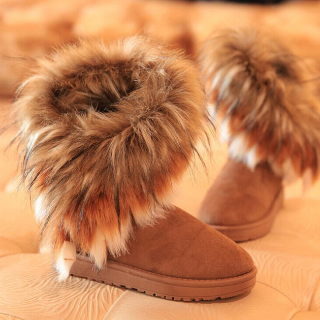 The Tube Snow Boots Cotton Shoes Fox Fur
