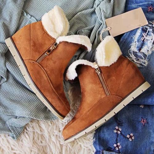 *Side Zipper Suede Fur Low Heel Cabin Boots