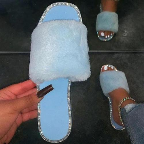 Women Chic Rhinestone Faux Fur Slippers