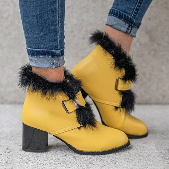 Women's Stylish Furry Chunky Heel Ankle Boots