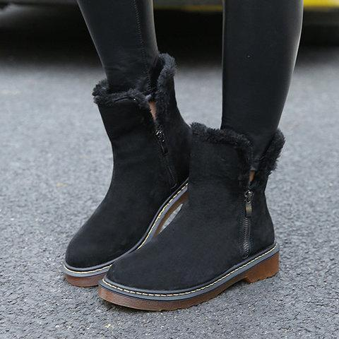 *Mid-Calf Low Heel Med Round Toe Zipper Boots