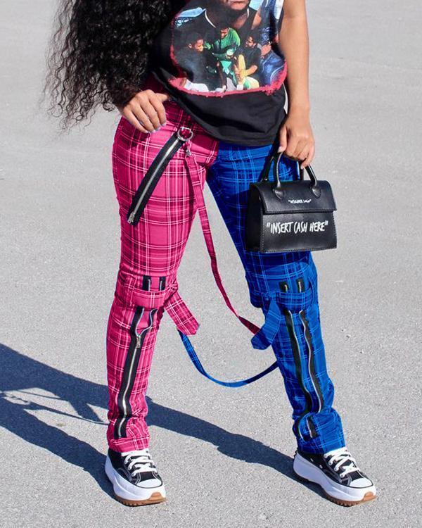 Color Block Plaid Print Zipper Pants