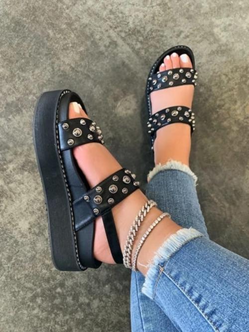 Rivet Buckle Sandals