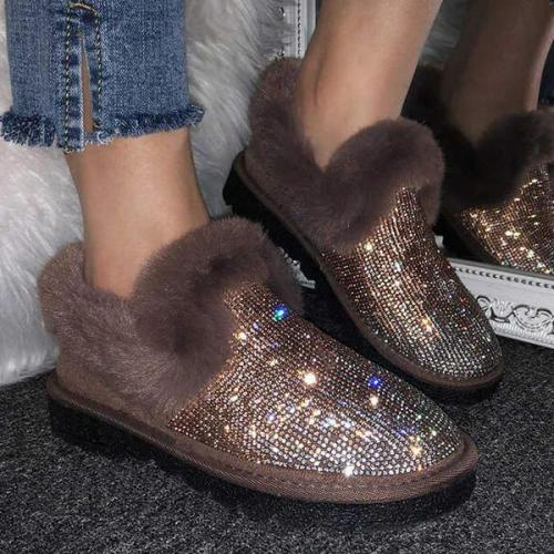 NEW! Women's Round Toe Snow Boots With Sequin Splice Color shoes