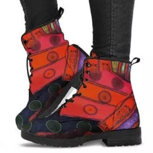 Flower Pu Winter Printed Date Boots
