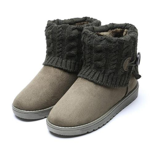 *6 Colors Women Flat Heel Button Casual Fold Knitted Paneled Short Snow Boots