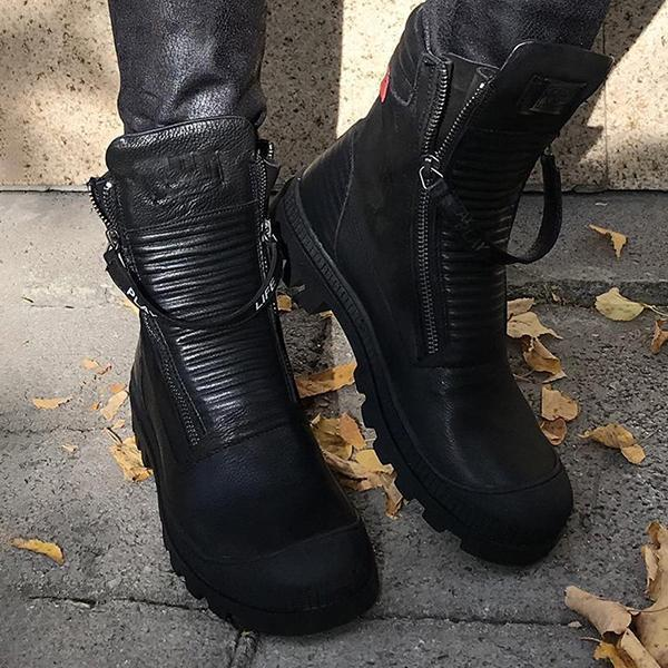 Comfortable Pu Leather Ankle Boots Low Heel Zipper Boots