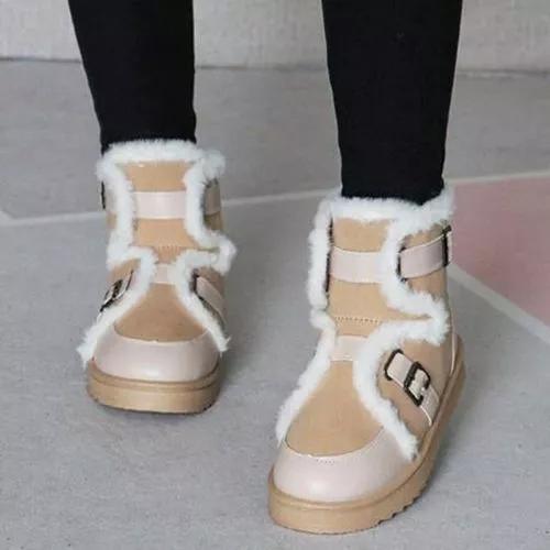 Women's Buckle Mid-Calf Boots Nubuck Flat Heel Boots