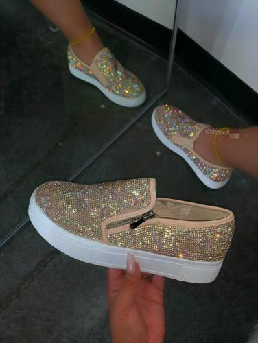 Colorful Diamond Slip On Flats