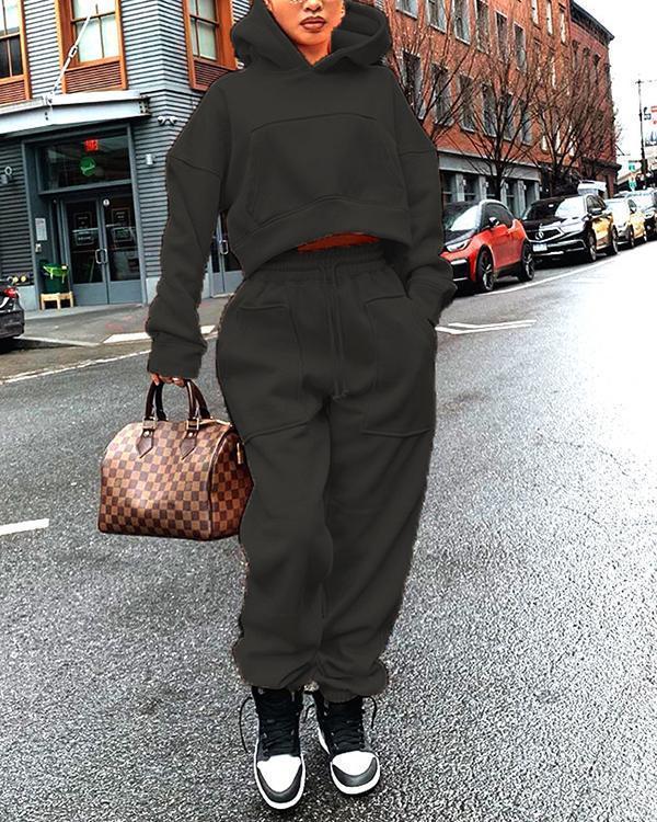 Fashion Solid Color Plus Velvet Sweater Casual Two-piece Suit