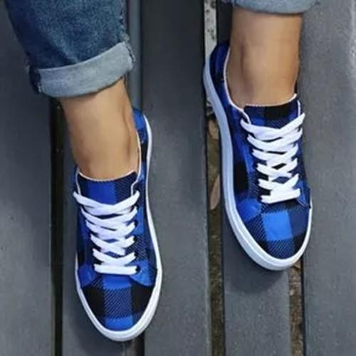 Women's Lace-up Closed Toe Flat Heel Sneakers