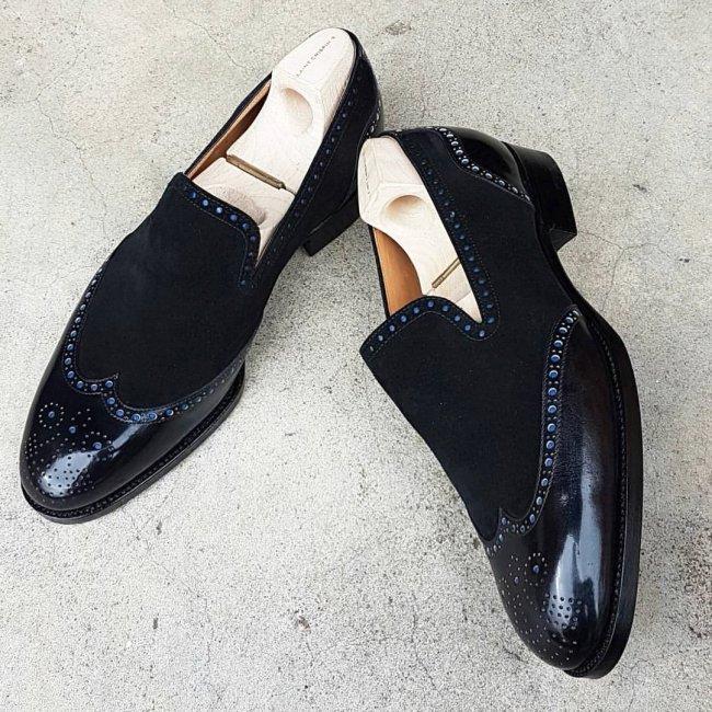 Men's Leather & Suede Wingtip Dress Fashion Shoes