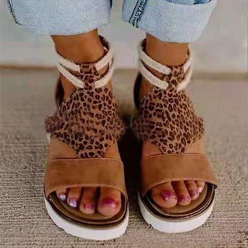 Lepard Back Zipper Sandals