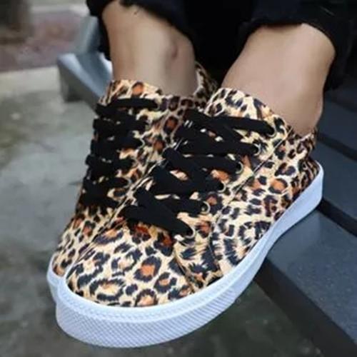 Women's Lace-up Closed Toe Flat Heel Sneakers