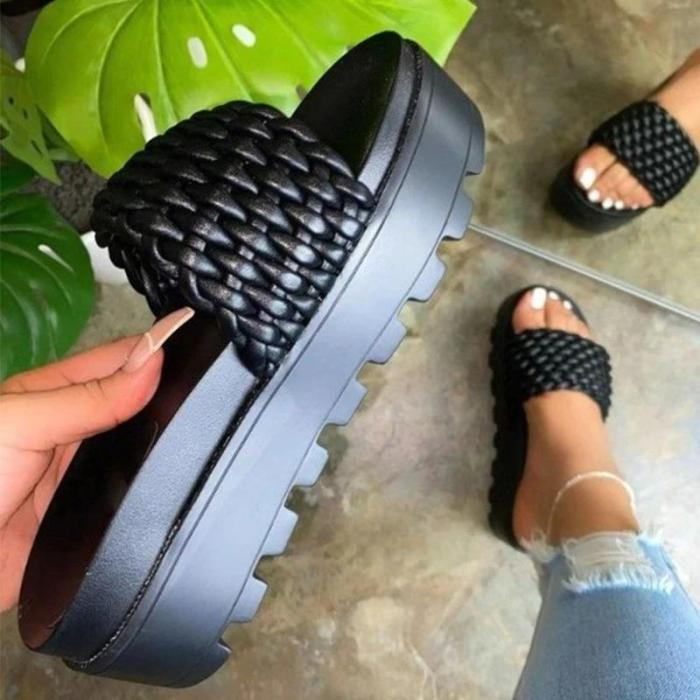 Women Round Toe Woven Casual Slippers