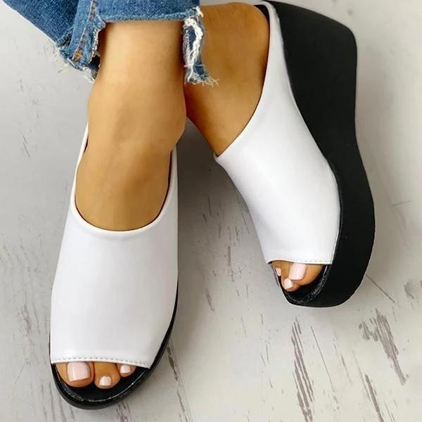 2021 Peep Toe Muffin Wedge Slippers