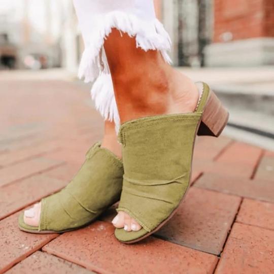 2021 Denim Cloth Chunky Heel Sandals Mules Slippers