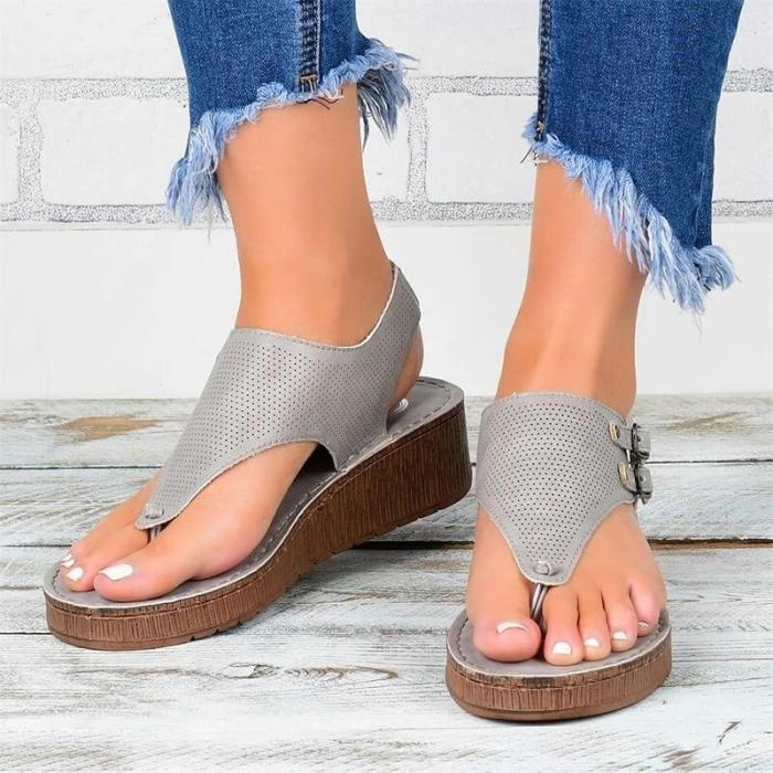 2021 Women Roman Hollow Out Ankle Strap Wedge Sandals