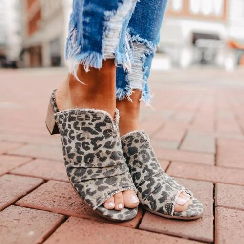 2021 Denim Cloth Chunky Heel Sandals Mules Slippers