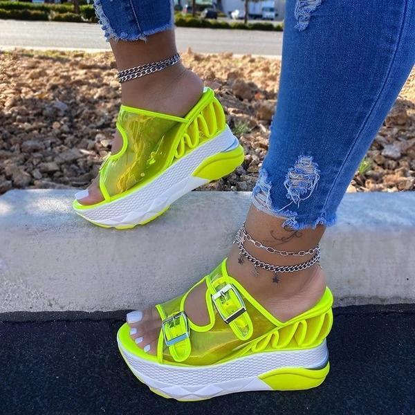 2021 Flip Flop Hollow Slip-On Wedge Heel Summer Patchwork Slippers