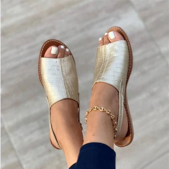 2021 Simple embossed flat sandals