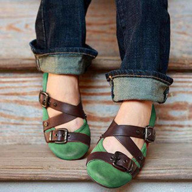 2021 Buckle Strap Casual Flats Loafers