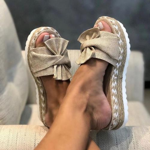 2021 Women Casual Daily Comfy Bowknot Slip On Sandals