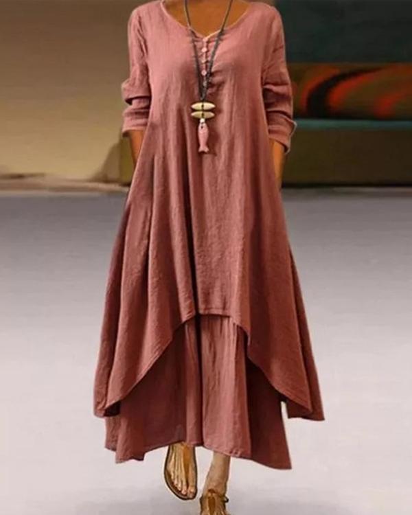 Womens Casual Buttoned Asymmetric Maxi Dresses