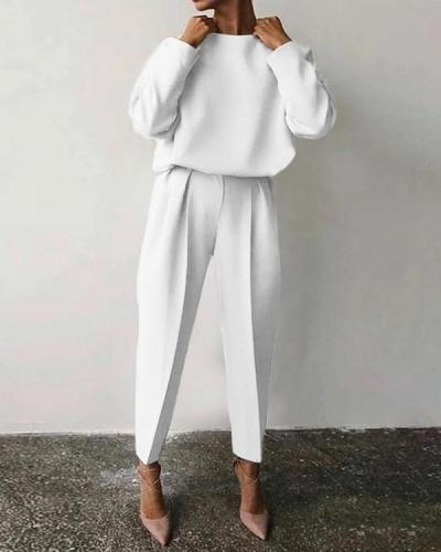 Casual Solid Color Round Neck Warm Suit