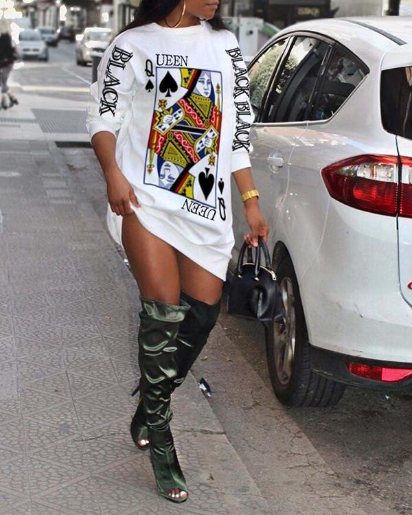 Printed Fashion Sweater T-shirt Long Dress