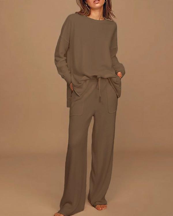 Long Sleeve Tops And Pants Two-Piece Fashion Suit