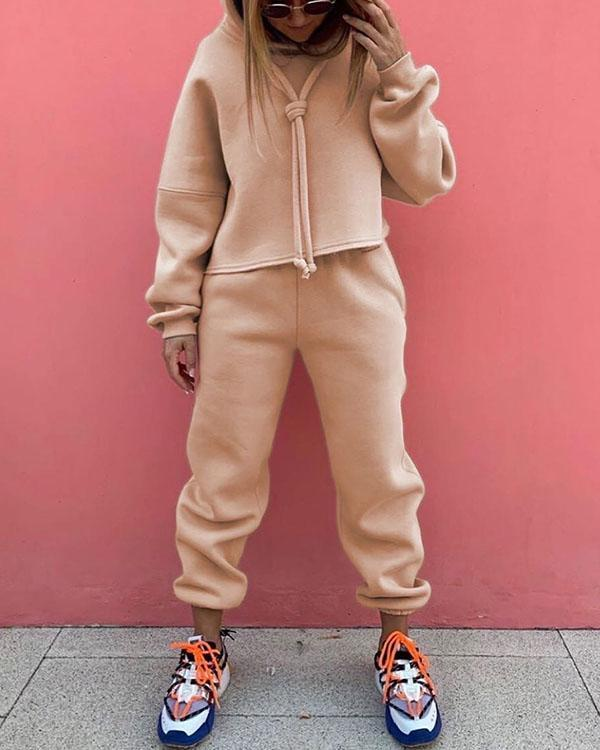 Women Tracksuits 2 Pieces Sets Casual Long Sleeve Hooded Sweatshirt Outfit