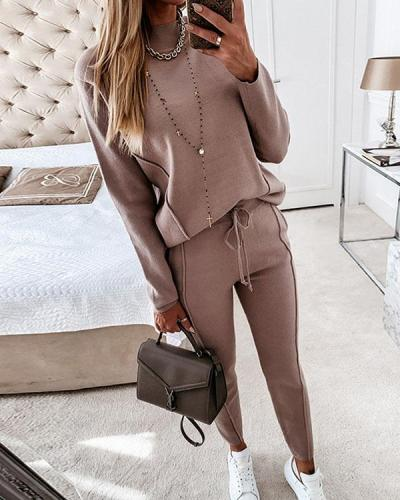 Casual Solid Color Knit Round Neck Warm Suit